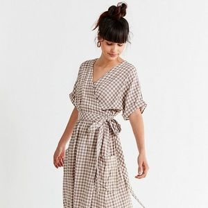 Urban Outfitters Gingham Plaid Wrap Dress